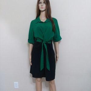 SHELBY & Palmer Green + Black Career Dress Size 16
